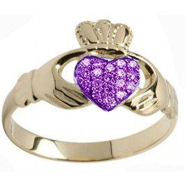 10K/14K/18K Gold Amethyst .07cts Claddagh Ring - February Birthstone