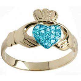 10K/14K/18K Gold Aquamarine Claddagh Ring - March Birthstone