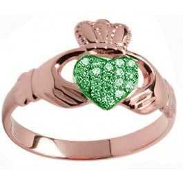 10K/14K/18K Rose Gold Genuine Emerald .07cts Claddagh Ring - May Birthstone