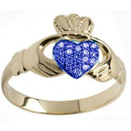 10K/14K/18K Gold Genuine Sapphire .07cts Claddagh Ring - September Birthstone