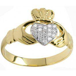10K/14K/18K Yellow Gold Genuine Diamond .07cts Claddagh Ring