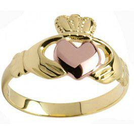 Ladies 10K/14K/18K two tone Yellow Gold & Rose Gold Heart Claddagh Ring