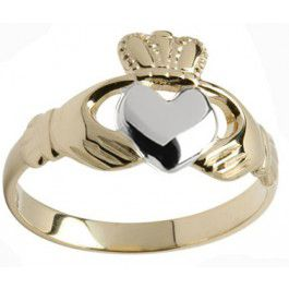 Yellow with white gold heart Claddagh ring
