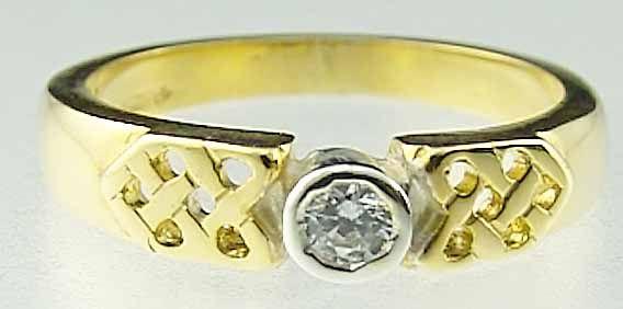 Ladies 10K/14K/18K Two Tone Gold Diamond Celtic Ring