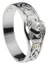 Ladies10K/14K/18K White Gold Celtic Claddagh Ring