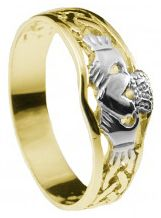 Ladies10K/14K/18K Two Tone Gold Claddagh Celtic Ring