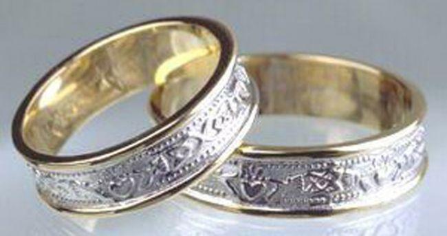 10K/14K/18K Two Tone Gold White & Yellow Claddagh Celtic Wedding Band Ring Set