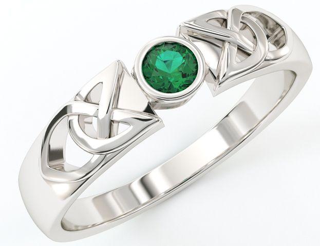 Ladies 10K/14K/18K White Gold Emerald Celtic Ring