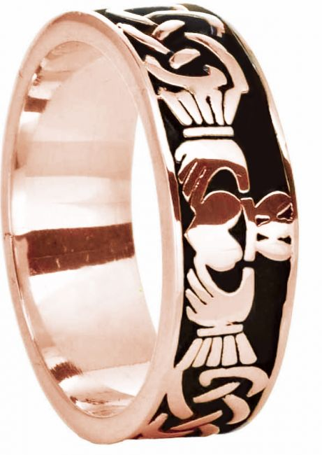 14K Rose Gold Silver Celtic Claddagh Band Ring Unisex Mens Ladies