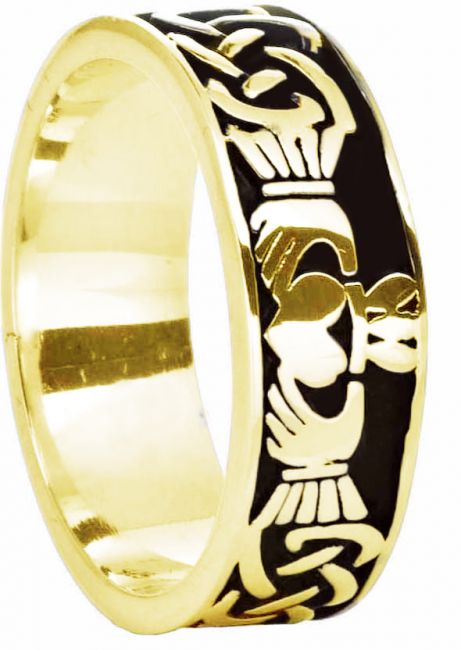 14K Gold Silver Celtic Claddagh Band Ring Unisex Mens Ladies