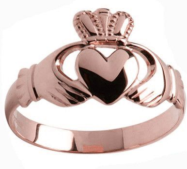 Mens 10K/14K/18K Rose Gold Claddagh Ring