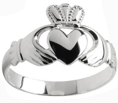 Mens 10K/14K/18K White Gold Claddagh Ring