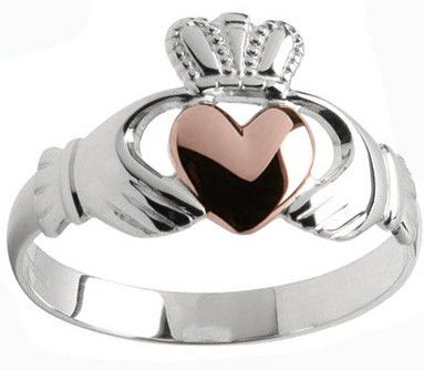 Mens 10K/14K/18K White Rose Gold Claddagh Ring