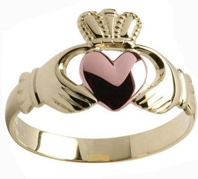 Mens 10K/14K/18K Yellow Rose Gold Claddagh Ring