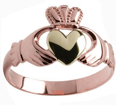 Mens 10K/14K/18K Rose yellow Gold Claddagh Ring