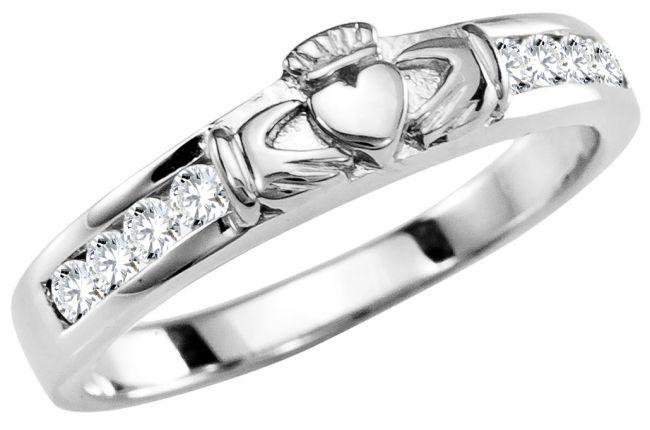 Ladies Diamond Silver Claddagh Ring
