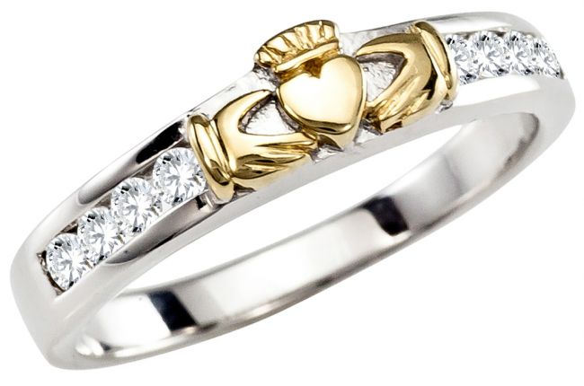 Ladies Diamond Gold Silver Claddagh Ring