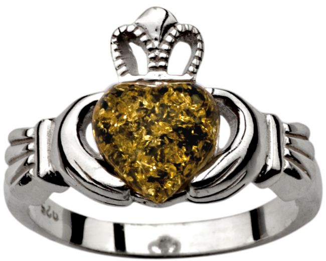 Ladies Irish Green Amber Silver Claddagh Ring