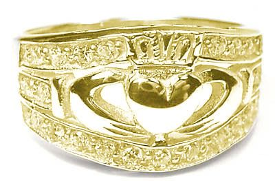 14K Gold Silver Ladies Diamond Claddagh Ring