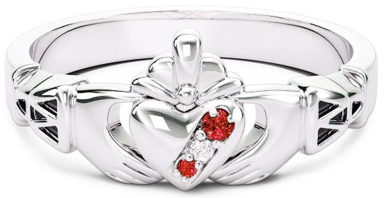 Ladies Ruby Diamond Silver Claddagh Ring