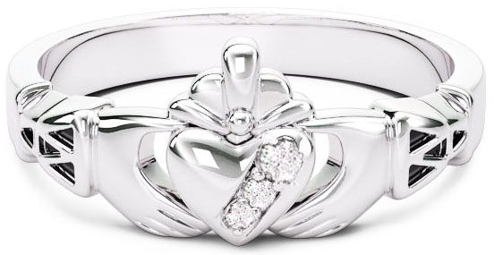 10K/14K/18K White Gold Genuine Diamonds .135cts Claddagh Celtic Knot Ring - May Birthstone