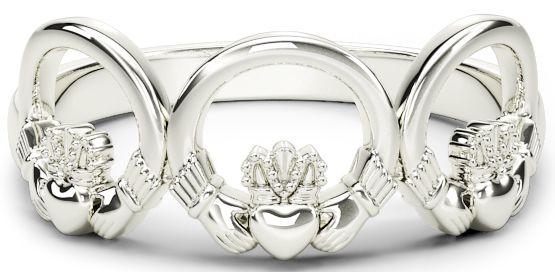 Ladies Silver Claddagh Trinity Ring