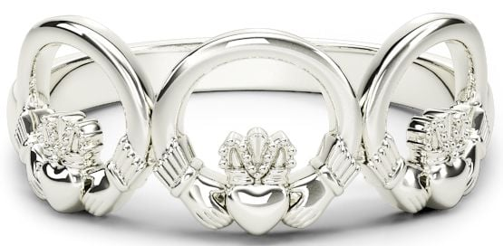 10K/14K/18K White Gold Claddagh Trinity Ring