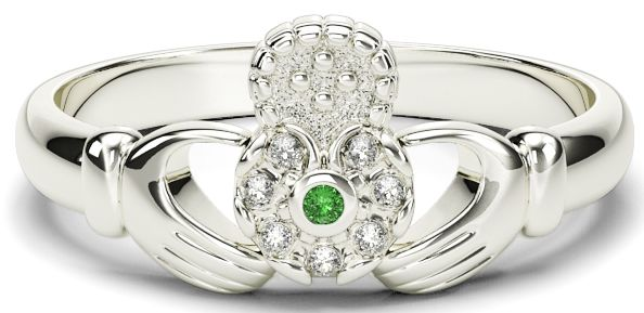 10K/14K/18K White Gold Genuine Diamonds .035cts Genuine Emerald Claddagh Ring