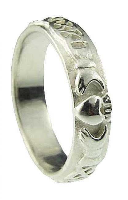 Ladies 10K/14K/18K White Gold Celtic Claddagh Wedding Ring