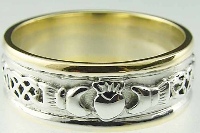 Mens 10K/14K/18K Two Tone Gold Celtic Claddagh Wedding Ring