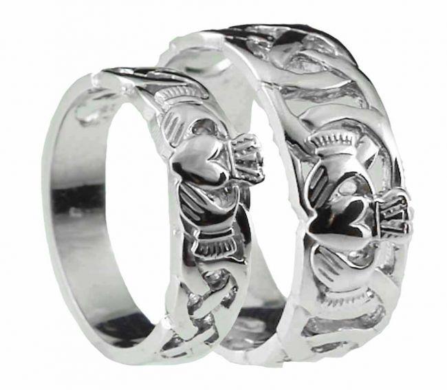 10K/14K/18K White Gold Celtic Claddagh Wedding Ring Set