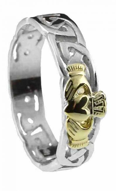 Ladies 10K/14K/18K Two Tone Gold Celtic Claddagh Wedding Ring