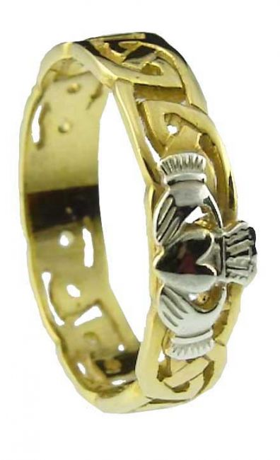 Ladies10K/14K/18K Two Tone Gold Celtic Claddagh Wedding Ring