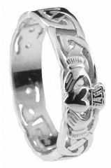 Mens 10K/14K/18K White Gold Celtic Claddagh Wedding Ring