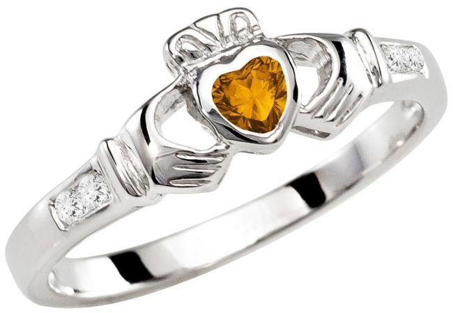 Ladies Citrine Silver Claddagh Ring - November Birthstone