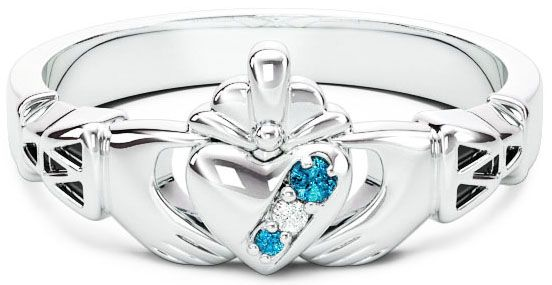 Ladies Diamond Aquamarine Silver Claddagh Celtic Knot Ring - March Birthstone