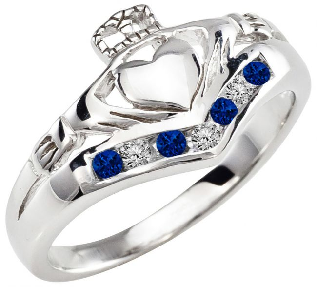 Ladies Sapphire Diamond Silver Claddagh Ring