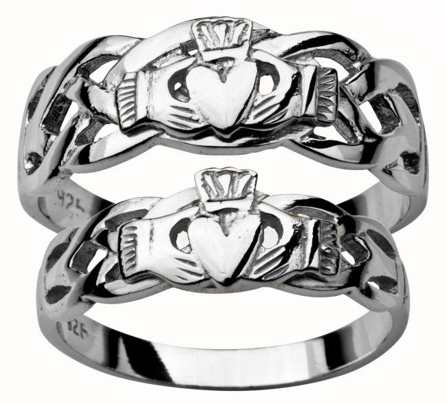 White Gold Claddagh Celtic Wedding Ring Set