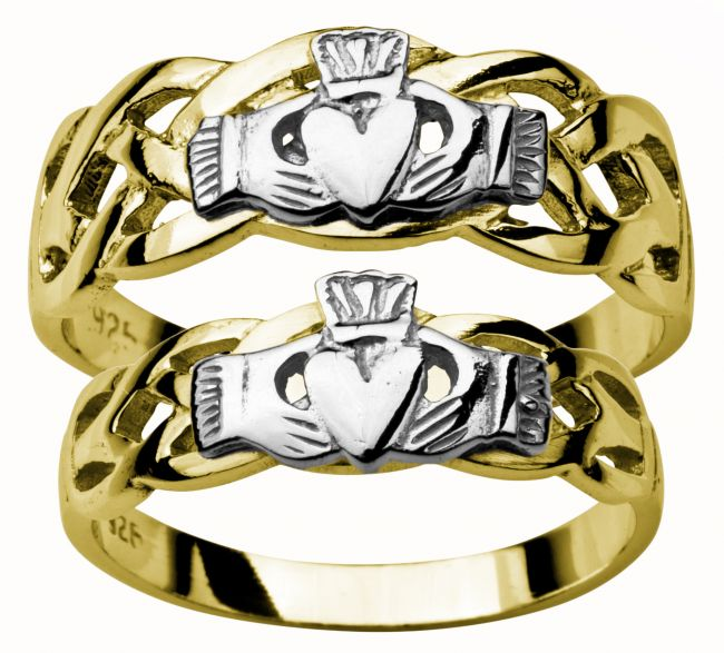 Gold Yellow and White Claddagh Celtic Wedding Ring Set