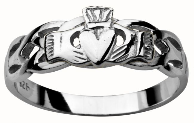 Ladies White Gold Claddagh Celtic Wedding Ring