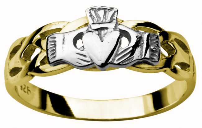 Ladies 14K Yellow & White Gold coated Silver Claddagh Celtic Ring