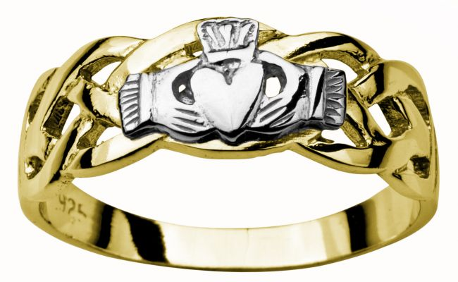 Mens 14K Yellow & White Gold coated Silver Claddagh Celtic Ring