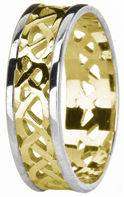 14K Two Tone Gold Celtic Band Ring Unisex Mens Ladies