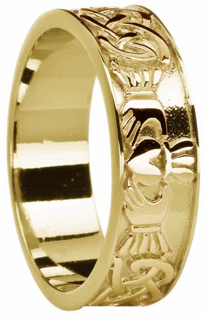 Mens Gold Celtic Claddagh Band Ring