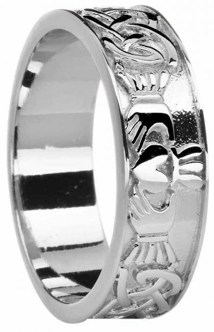 Mens White Gold Celtic Claddagh Band Ring