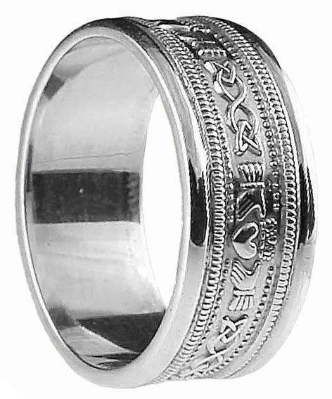 Mens White Gold Claddagh Celtic Wedding Band Ring