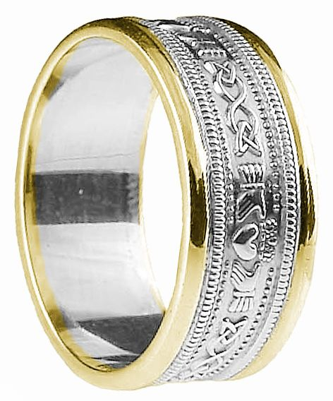 White & Yellow Gold Claddagh Celtic Wedding Band Ring unisex
