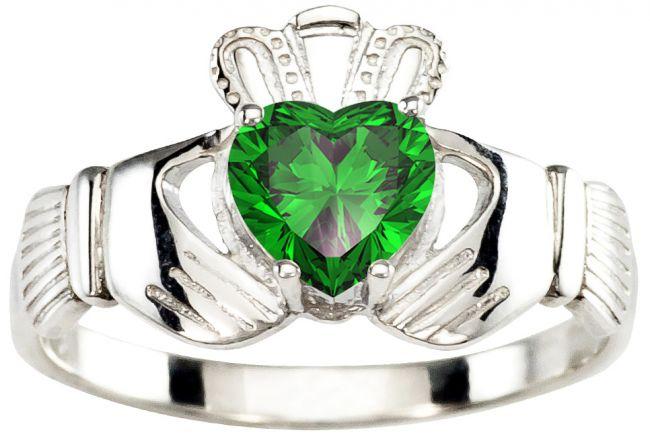 Ladies Emerald Silver Claddagh Ring - May Birthstone