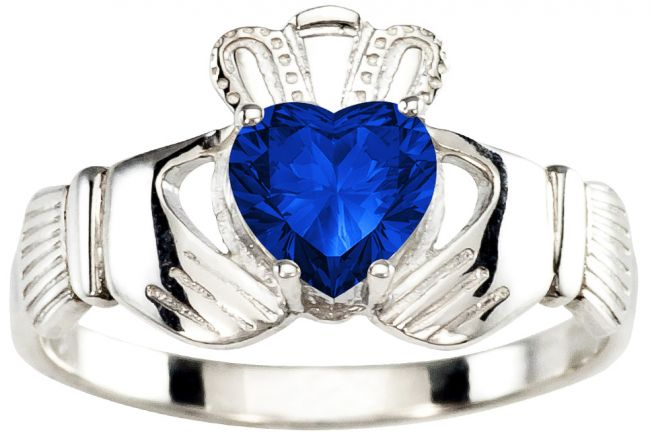 Ladies Sapphire Silver Claddagh Ring - September Birthstone