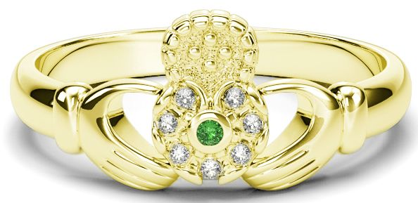 10K/14K/18K Gold Genuine Diamonds .035cts Genuine Emerald Claddagh Ring